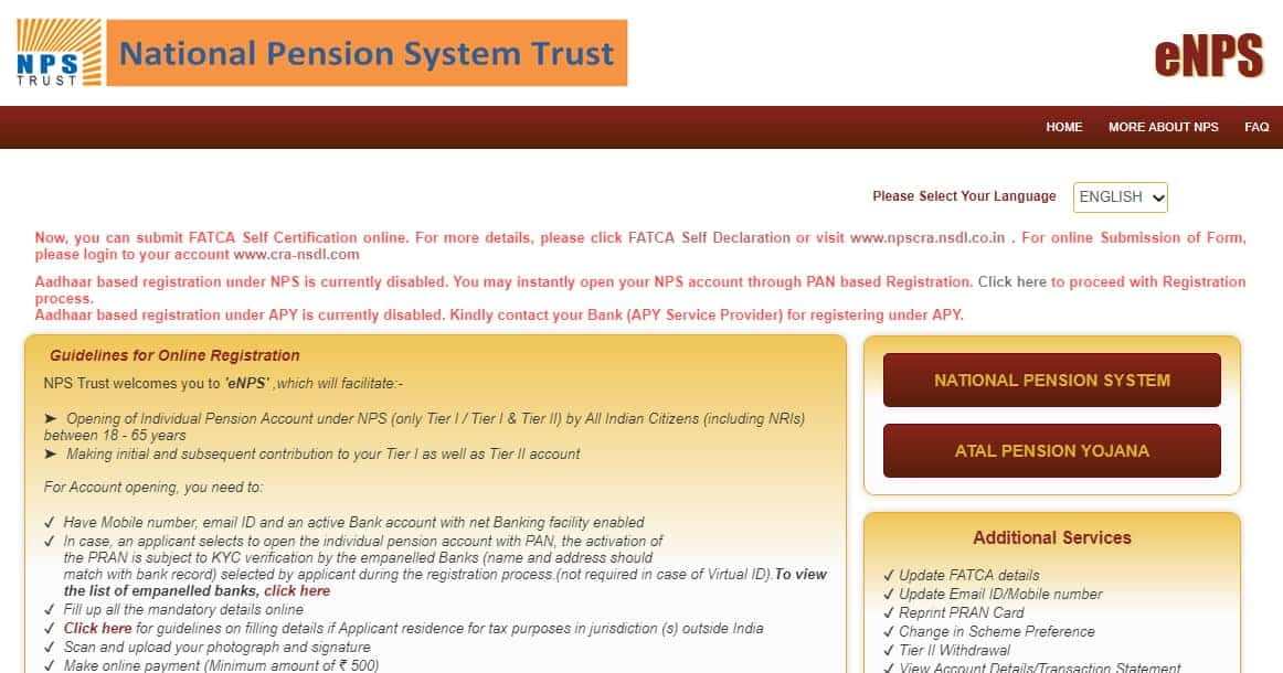 National Pension System , NPS Online Registration, Apply, Chart and Calculator