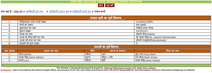 UP Digital Ration Card List 2019