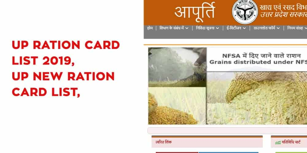 UP Ration Card List 2019, UP New Ration Card List, and FCS UP