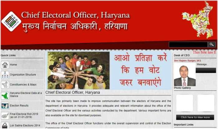 CEO Haryana Voter List Haryana Lok Sabha 2019 Voter List PDF
