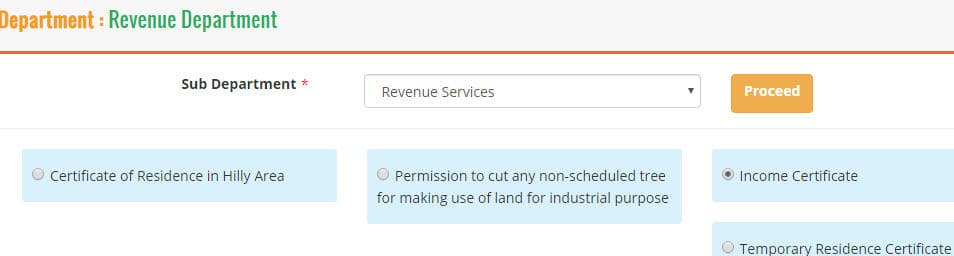 Income Certificate Online aaplesarkar Maharashtra Step 2