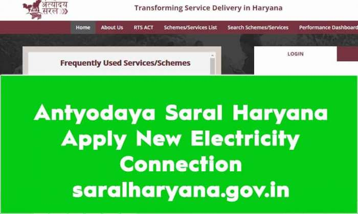 Antyodaya Saral Haryana Apply New Electricity Connection saralharyana.gov.in