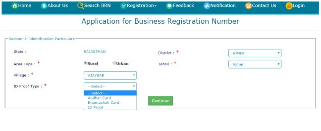 Rajasthan Business Online Application