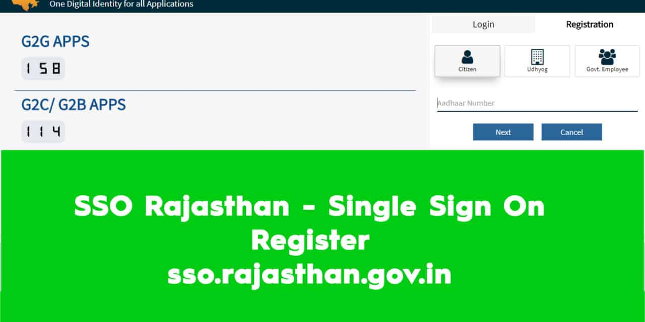 SSO Rajasthan – Single Sign On Register – sso.rajasthan.gov.in