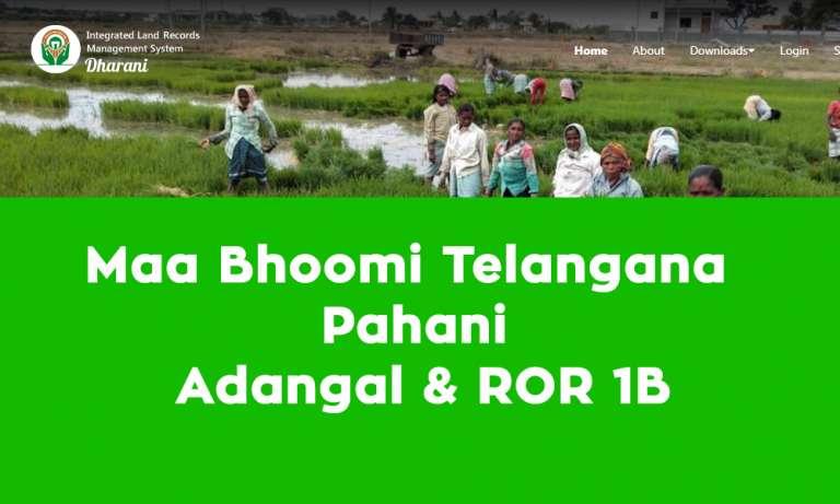 Maa Bhoomi Telangana Pahani, Adangal & ROR 1B