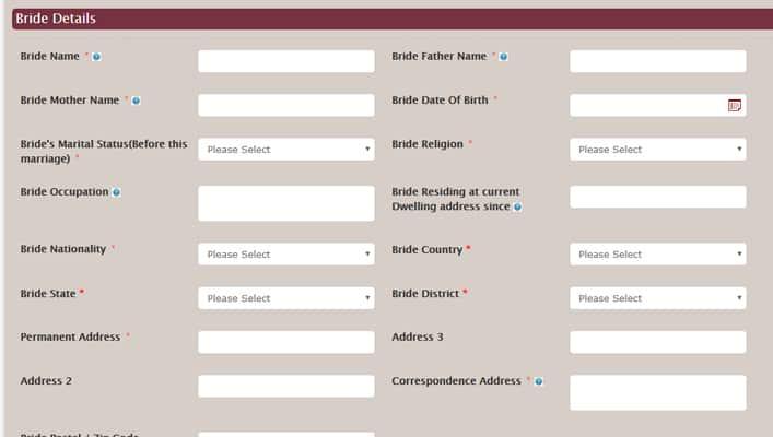 Saral Haryana Marriage Registration Online Form Bride Details