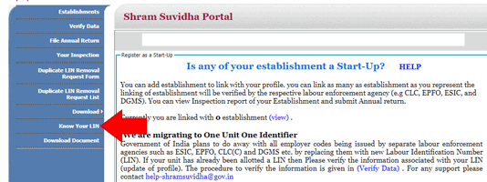 Know your LIN Shram Suvidha Portal