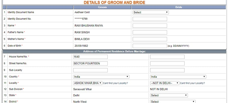 Delhi Marriage Registration Certificate Bride and Groom Details