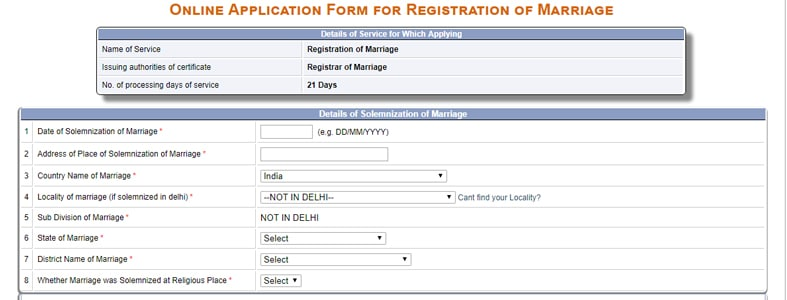 Delhi Marriage Registration Certificate Form
