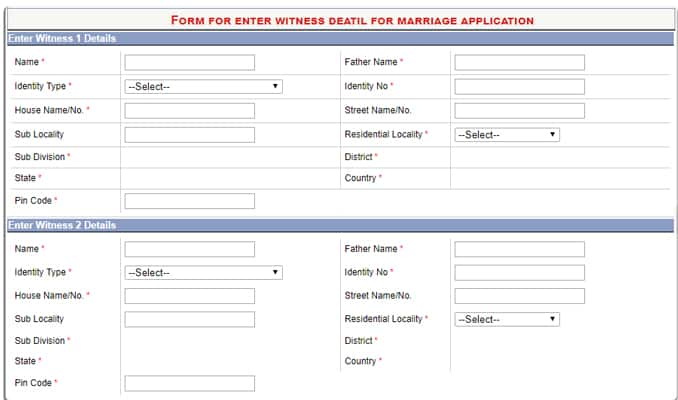 E-District Delhi Marriage Certificate Witness Details