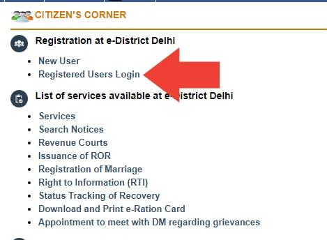 E-District Delhi Register Login