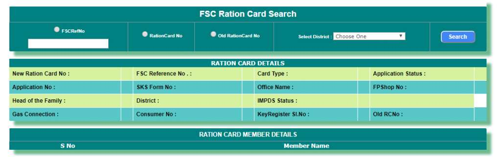 Telangana FSC Ration Card Search