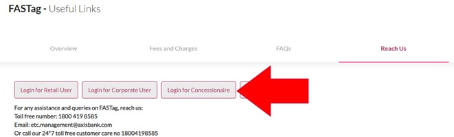 Axis Bank FASTag Login Button