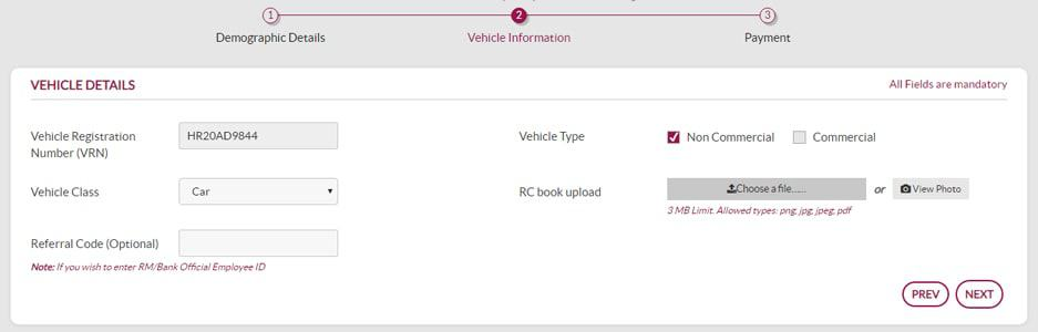 Axis Bank FASTag Vehicle Details