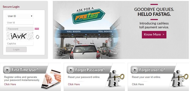 Axis FASTag Login Page