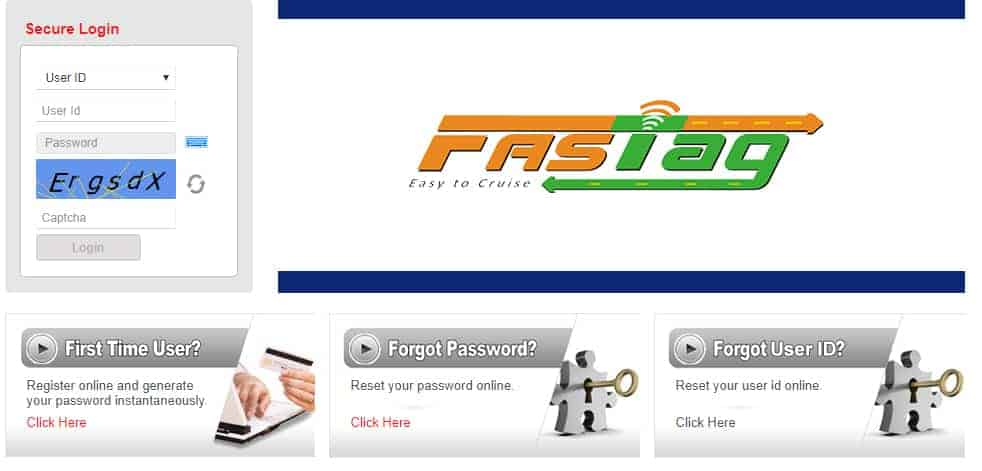 HDFC FASTag First Time Login