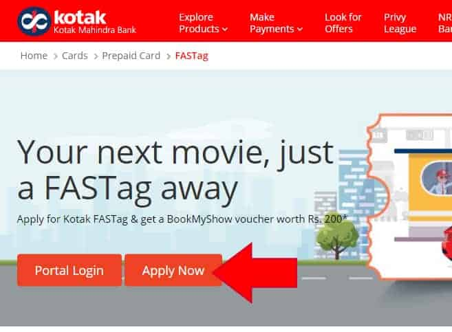 Kotak FASTag Apply Online