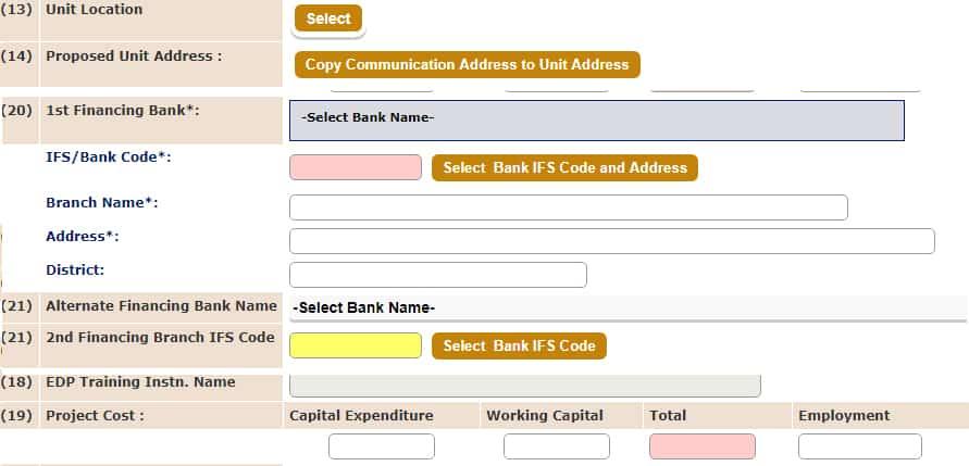 PMEGP Financing Bank Details