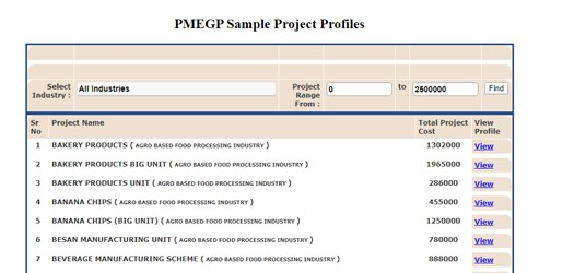 PMEGP Sample Project Profiles
