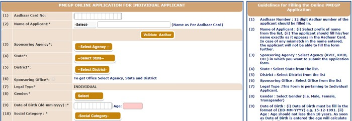 PMEGP e-Portal Online Individual Application Form
