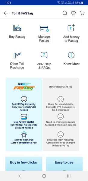 Paytm FASTag Online Recharge