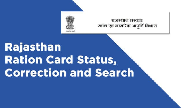 Rajasthan Ration Card Status, Correction and Search