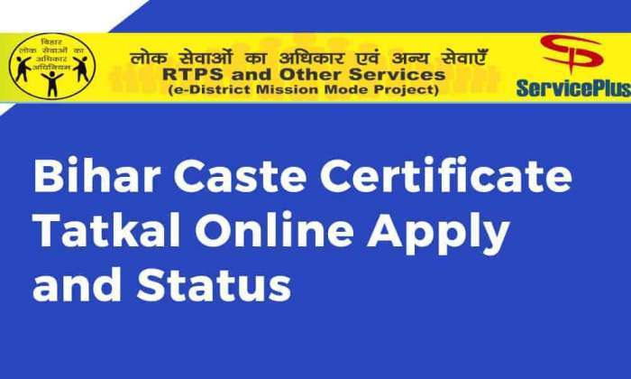 Bihar Caste Certificate Tatkal Online Apply And Status Online Yojana