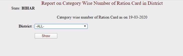 Bihar Ration Card List District Wise