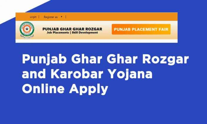 Punjab Ghar Ghar Rozgar and Karobar Yojana Online Apply