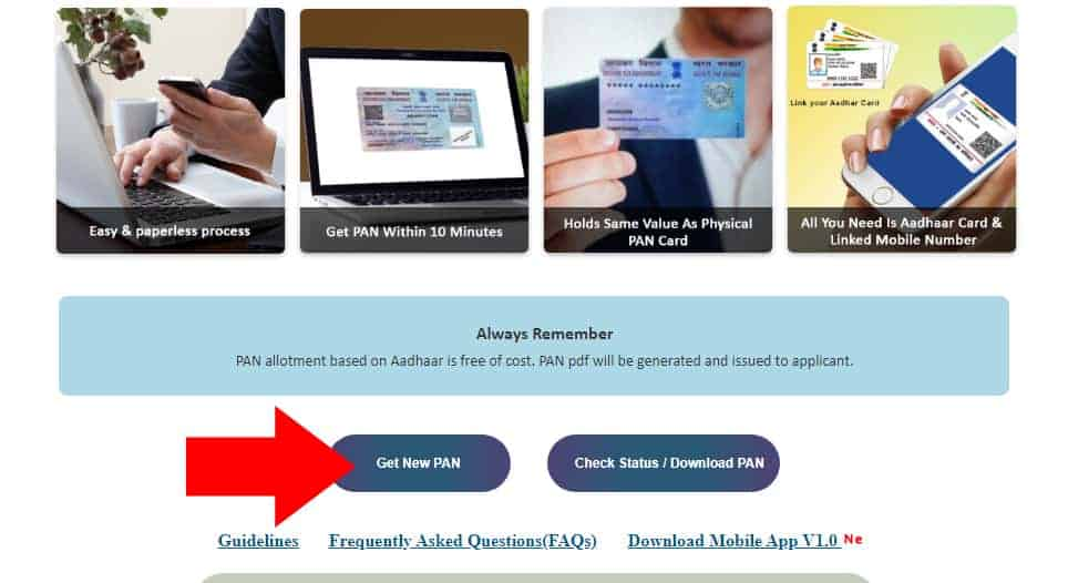 Apply Instant Pan Card Aadhaar Online