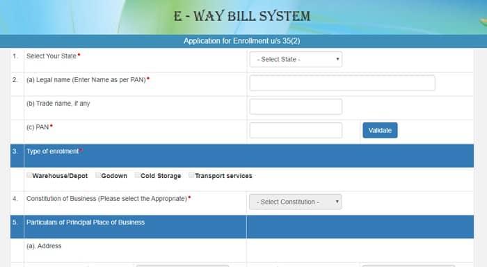 E Way Bill Register Form