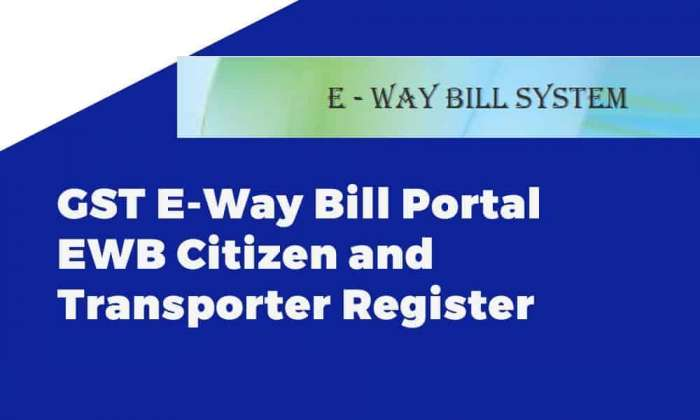 GST E-Way Bill Portal EWB Citizen and Transporter Register
