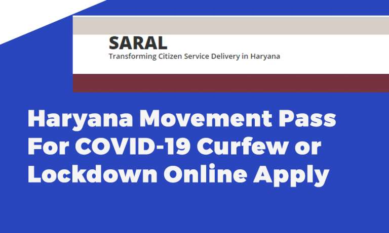 Haryana Movement Pass For COVID-19 Curfew or Lockdown