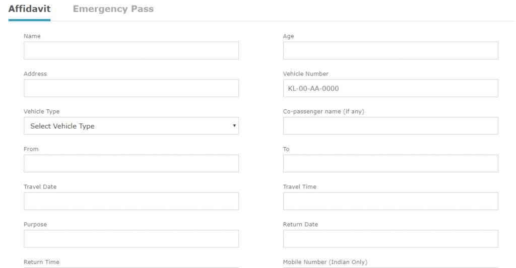 Kerala e-Curfew Pass COVID-19 Applcation Form