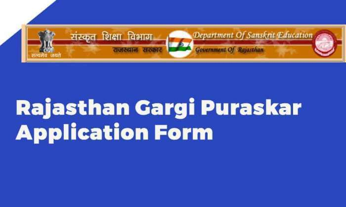 Rajasthan Gargi Puraskar Application Form