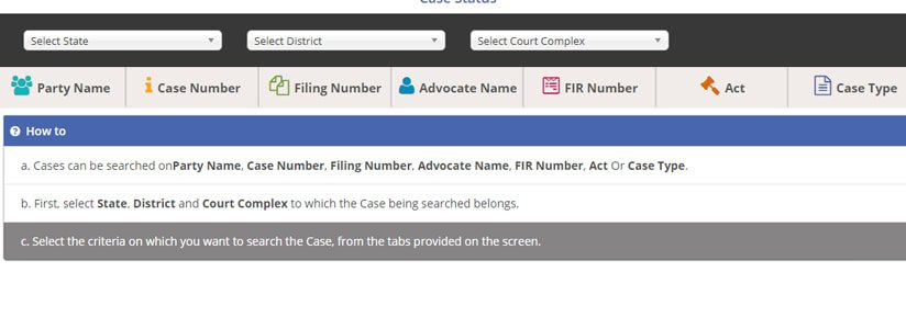 Search Case Status Ecourts Service