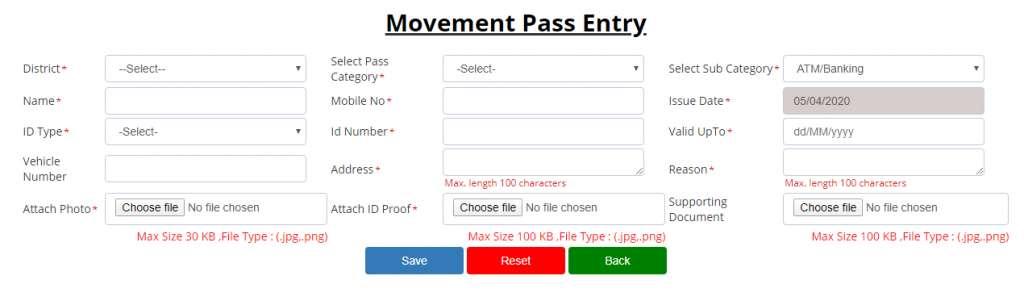Uttar Pradesh Citizen Movement Pass Application Form