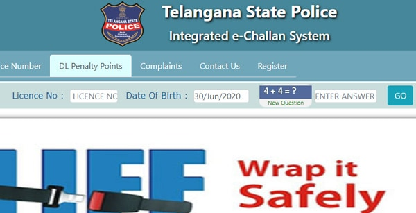 Telangana DL Penalty Point