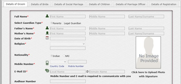 West Bengal Marriage Registration Application
