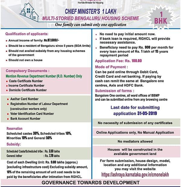 Bengaluru CM One Lakh Houses Scheme