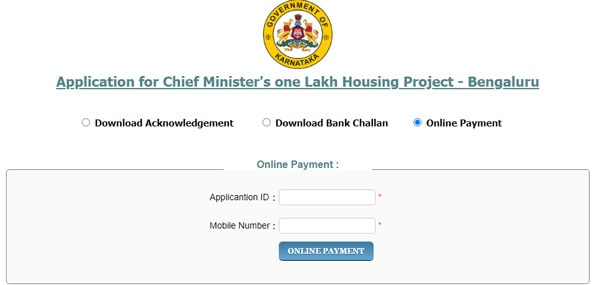 Chief Minister's One Lakh Houses Online Payment Bengaluru