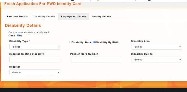 PWD Card Disability Details