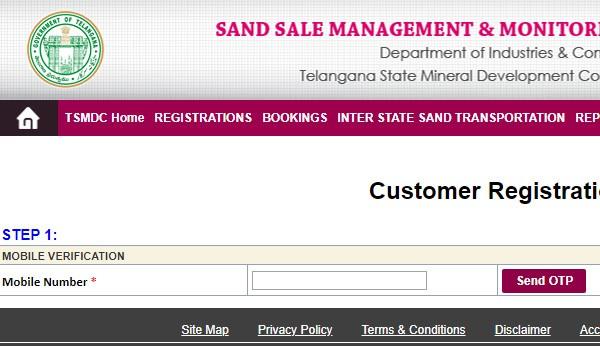 Sand Telangana Customer Register